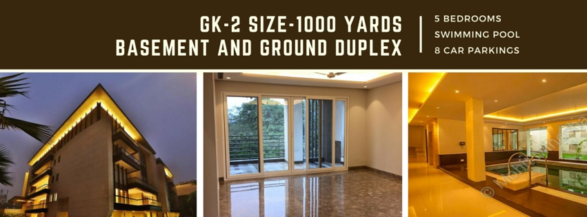 GK-2, Basement and Ground Duplex, 1000 Yards, Seprate Driveway, Private Lift, Swimming Pool