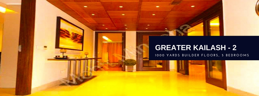 1000 Yards 5 Bedrooms Floors in GK-2, W Block, First, Second and Top Floor with Terrace