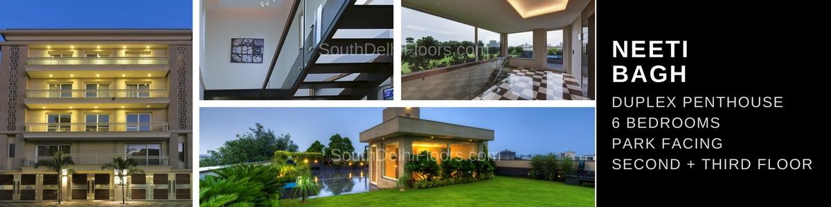Duplex Flats in Delhi Neeti Bagh Second and Third Floor Duplex Penthouse