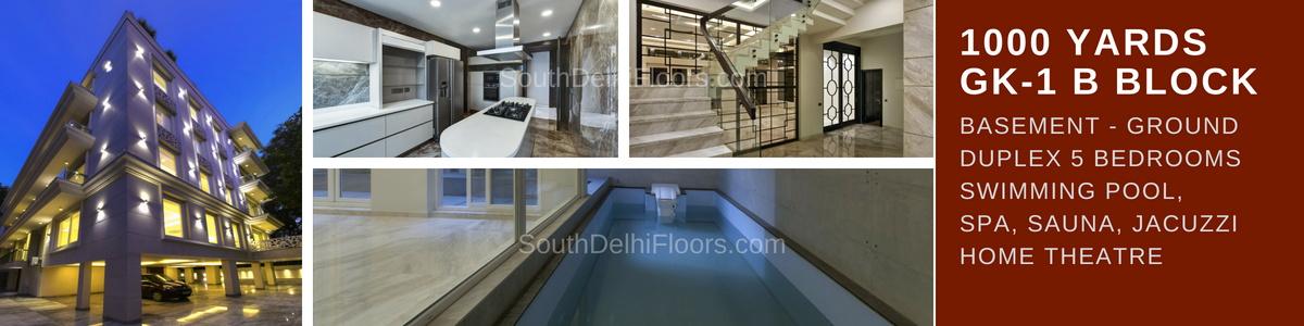 Duplex in GK1, Wider Road, 1000 Yards Basement and Ground Duplex, 5 BHK