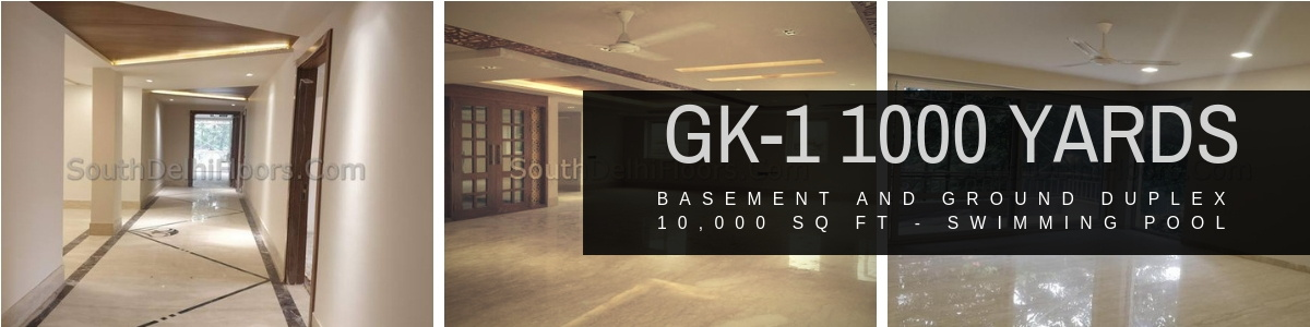 1000 Yards Basement Ground Duplex in GK-1 with Swimming Pool